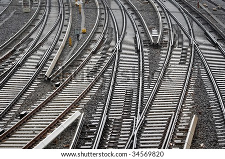 railroad tracks near central station in hamburg, Germany - stock photo