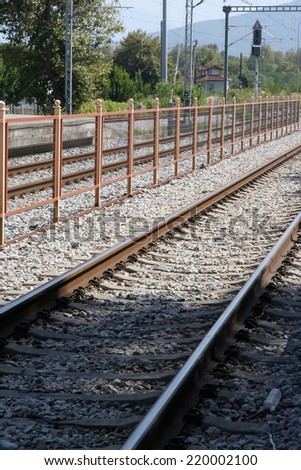 Railroad tracks. Railway tracks. Old railway station.