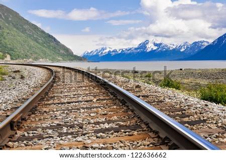 Railroad tracks running through Alaskan landscape