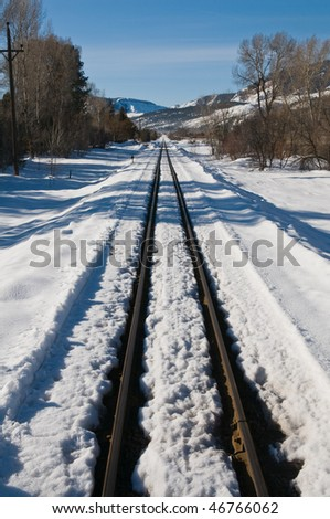 Railroad tracks through the snow, Durango, Colorado