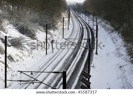 Railroad tracks  with snow.