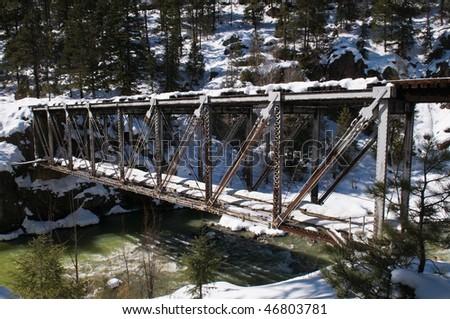 Railroad trestle over the Animas River north of Durango, Colorado