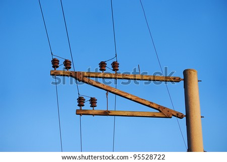 Railroad wire pole against clear blue sky