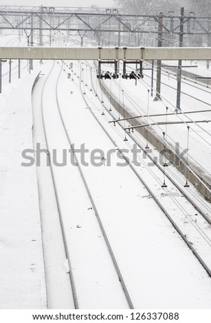 railroad with snow landscape