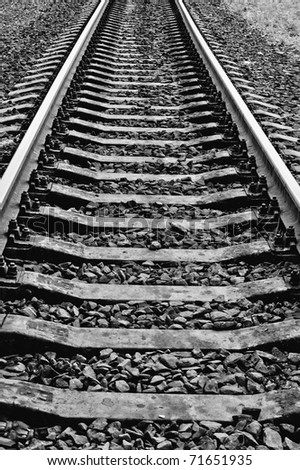 Rails. Black and white photo