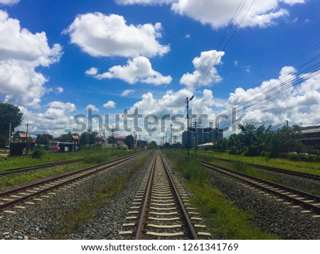 Rails with Beautiful Blue Sky #1261341769