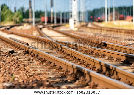 rails with track switch in a railway station Сток-фото ©