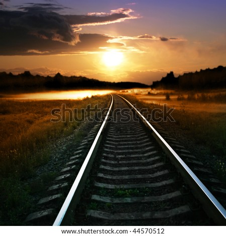 Railway at sunset.