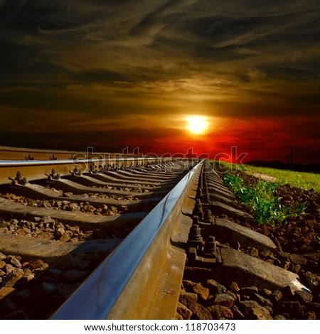 railway at the sunset