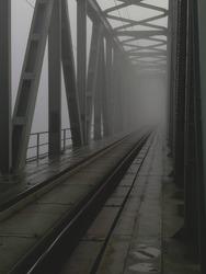 railway bridge and foggy day