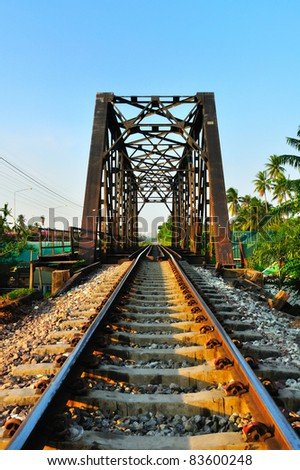 Railway bridge at Bangkoknoi, Talingchan, Thailand. It is near Talingchan floating market.