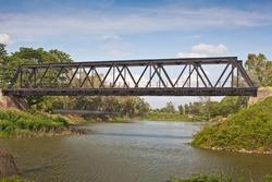 railway bridge over little river,Khonkaen,Thailand
