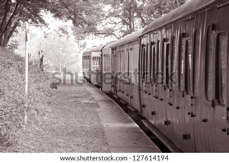 Railway Carriages in Black and White Tone