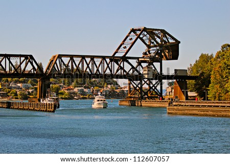 Railway Drawbridge and boat - Salmon Bay Bridge - Bridge No.4