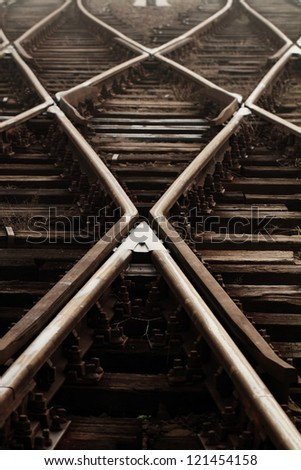 Railway in fog on station, outdoor landscape - stock photo