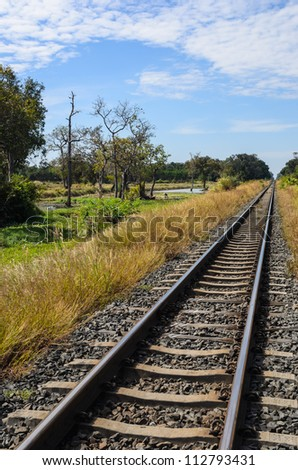 railway in green landscape nature