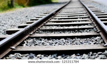 Railway in the park - stock photo