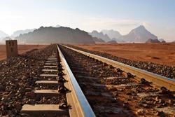 Railway in Wadi Rum desert