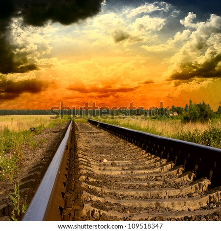 railway into the sunset