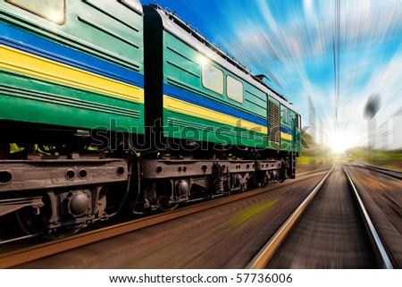 Railway journey towards the sunset