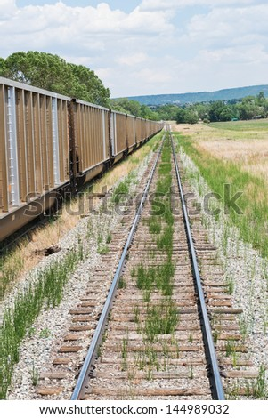 Railway line and boxcars, La Veta, Colorado