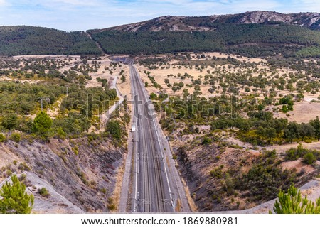 Railway line in The Alcudia Valley, Ciudad Real, Spain, Europe Foto stock ©