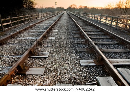Railway Lines Near to Infinity - stock photo