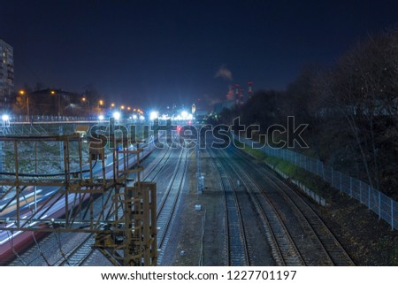 Railway metropolis with a developed infrastructure and night lighting #1227701197