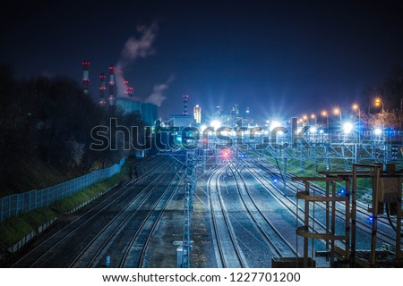 Railway metropolis with a developed infrastructure and night lighting #1227701200