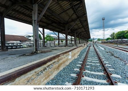 Railway platform,The platform of the train station in Thailand. #710171293