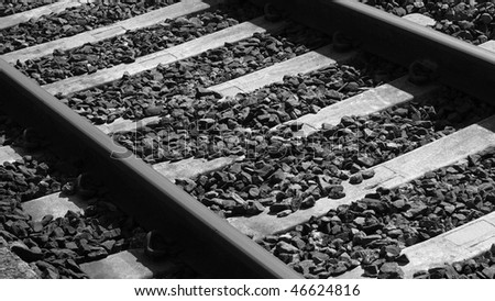 Railway railroad track - (16:9 black and white) - stock photo