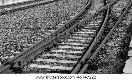 Railway railroad track - (16:9 black and white)