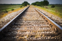 Railway, Railroad, Train Tracks, Green Pasture, Selective Focus