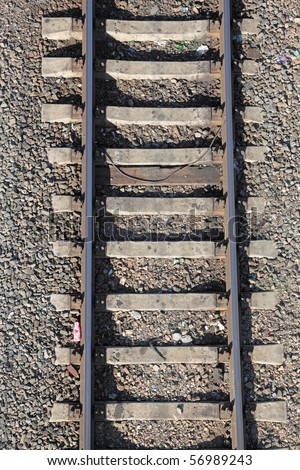 Railway rails on concrete cross ties, a close up, the top view