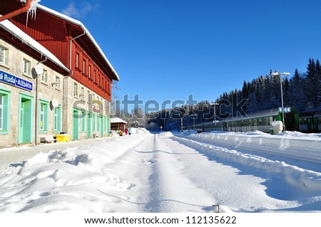 Railway station Bayerischen Eisenstain (small town on the border of Czech Republic and Germany) in winter