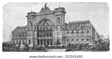 Railway station in Budapest (capital city in Hungary) 1884 / vintage illustration from Brockhaus Konversations-Lexikon 1908