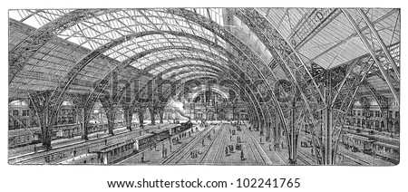 Railway station in Frankfurt (city in Germany) 1883-1888 / vintage illustration from Brockhaus Konversations-Lexikon 1908