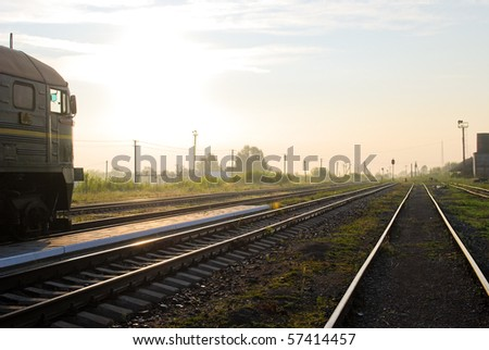 Railway station in the morning