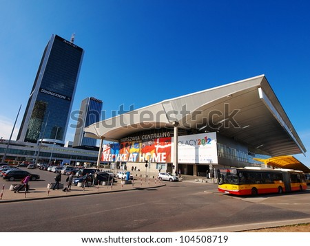 RAILWAY STATION IN WARSAW, POLAND - JUNE 7: Railway Station on June 7, 2012. Warsaw will host the opening match of the UEFA Euro 2012. - stock photo