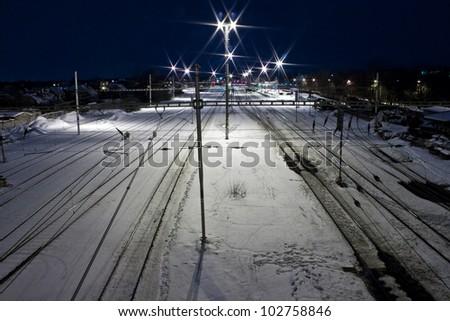 Railway station in winter. Lysa nad Labem, Czech republic