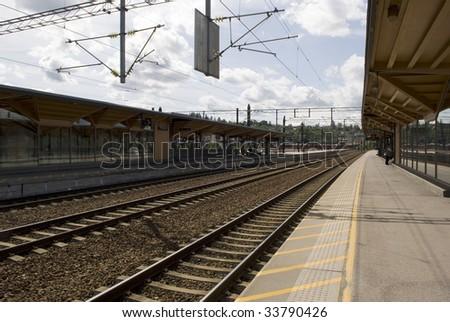 Railway station. Railroad tracks vanishing. Norway. Lillestrom.