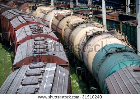 Railway tanks for mineral oil and other cargoes at station