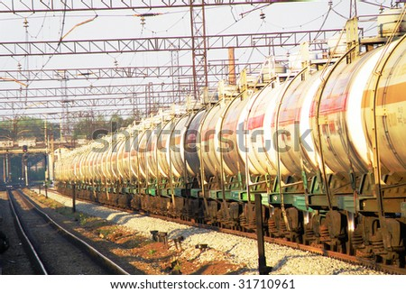 Railway tanks with oil stand on railway station