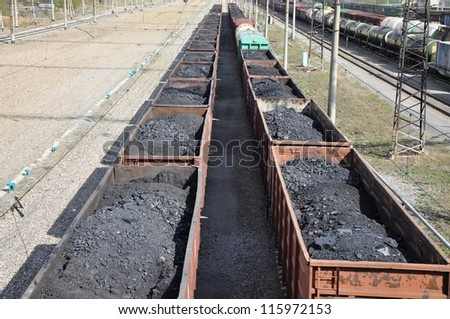Railway. The cars of coal.
