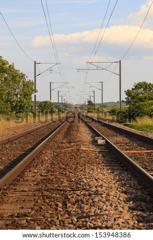 Railway Track.  An electrified railway track in northern England.