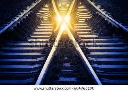railway track change concept or ...