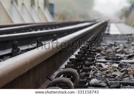 Railway track on steel bridge -shallow depth of field #331158743