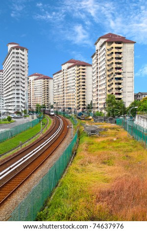 Railway track passing through housing area. Concept of urban transportation and noise pollution.