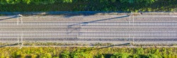 Railway track tracks line railroad train rail aerial photo panoramic view travel