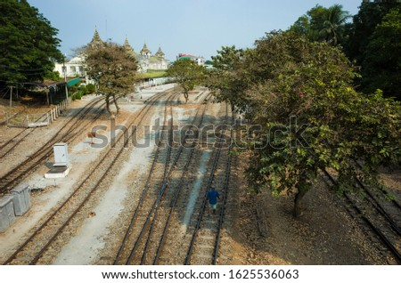 Railway tracks near Yangon central train station, Myanmar stock photo